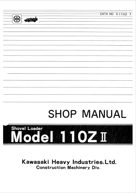 Kawasaki KSS110Z,110ZII Wheel Loader Service Manual