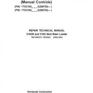 John Deere 316GR, 318G SkidSteer Service Manual (Manual Controls & S.N G298752 -)