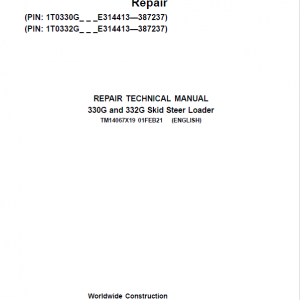 John Deere 330G, 332G SkidSteer Loader Service Manual (S.N from F300253 - )