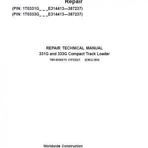 John Deere 331G, 333G Compact Track Loader Service Manual (S.N E314413 - )