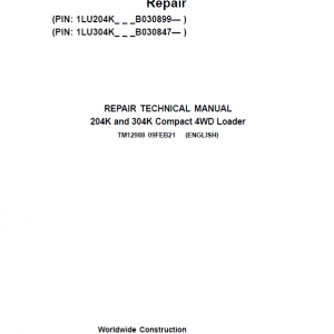 John Deere 204K, 304K Compact 4WD Loader Service Manual ( S.N after B030847 -)