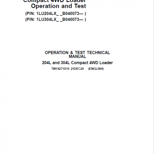 John Deere 204L, 304L 4WD Loader Service Manual (S.N after B040073 -)