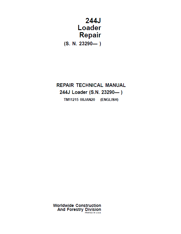 John Deere 244J Loader Service Manual (S.N after 23290 - )