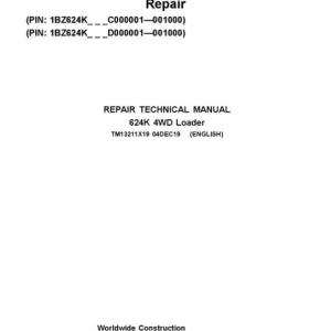 John Deere 624K 4WD Loader Service Manual (SN. C000001 & D000001 - 001000)