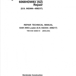 John Deere 644K 4WD Engine S2 & T3 Loader Service Manual (S.N. before 642444 - 658217)