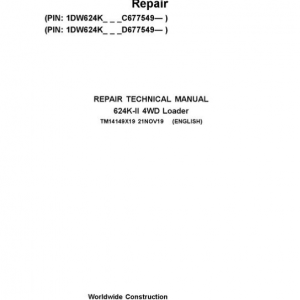 John Deere 624K-II 4WD Loader Service Manual (S.N after C677549 & D677549 - )