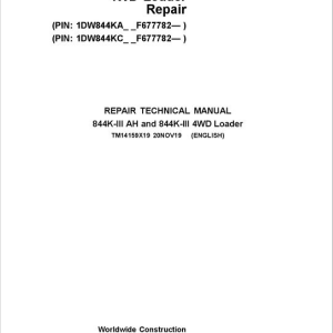 John Deere 844-III AH, 844-III 4WD Loader Service Manual (S.N after F677782 -)