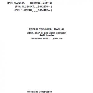 John Deere 244K, 244K-II, 324K Compact 4WD Loader Service Manual ( S.N B034182 - )
