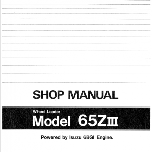 Kawasaki 65ZIII Wheel Loader Service Manual