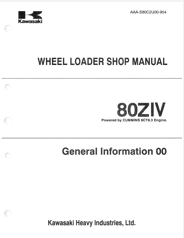 Kawasaki 80ZIV Wheel Loader Service Manual