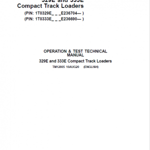 John Deere 329E, 333E SkidSteer Track Loader Service Manual (S.N from E236690 - )