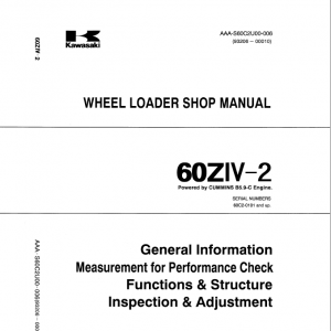 Kawasaki 60ZIV-2 Wheel Loader Repair Service Manual