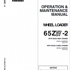 Kawasaki 65ZIV-2 Wheel Loader Repair Service Manual