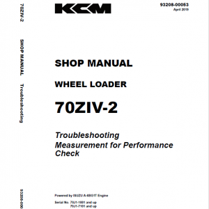 Kawasaki 70ZIV-2 Wheel Loader Repair Service Manual