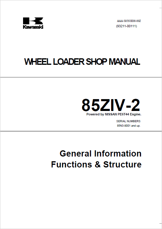 Kawasaki 85ZIV-2 Wheel Loader Repair Service Manual