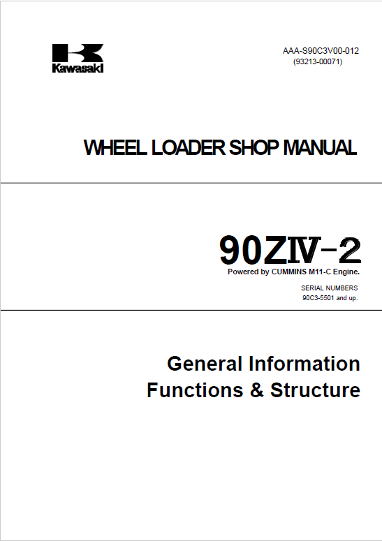 Kawasaki 90ZIV-2 Wheel Loader Repair Service Manual
