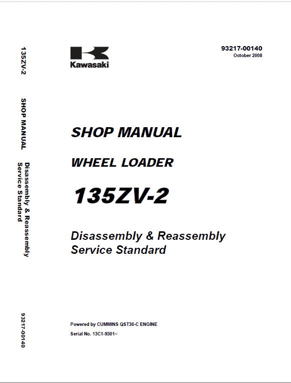 Kawasaki 135ZIV-2 Wheel Loader Repair Service Manual