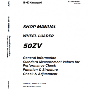 Kawasaki 50ZV Wheel Loader Repair Service Manual