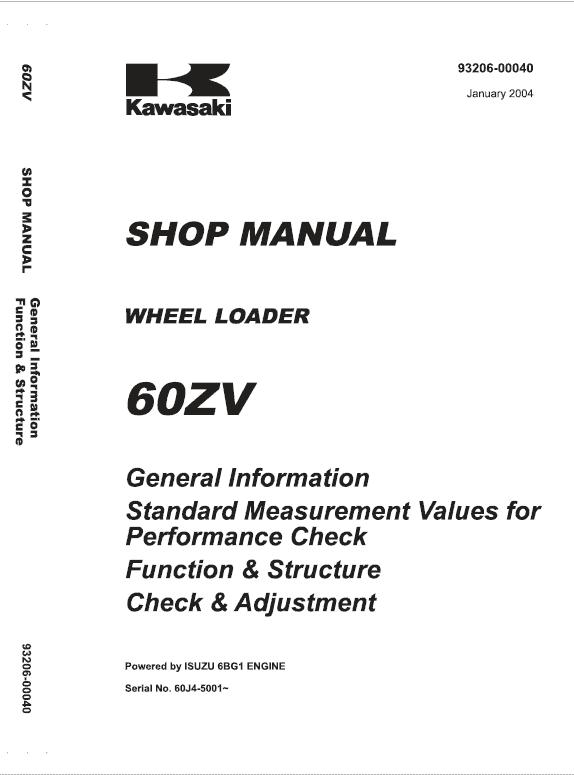 Kawasaki 60ZV Wheel Loader Repair Service Manual