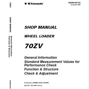 Kawasaki 70ZV Wheel Loader Repair Service Manual