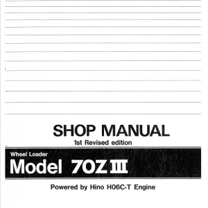 Kawasaki 70ZIII Wheel Loader Service Manual