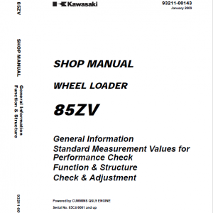 Kawasaki 85ZV Wheel Loader Repair Service Manual