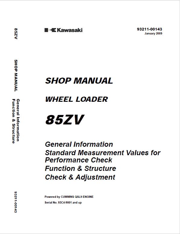 Kawasaki 85ZV Wheel Loader Repair Service Manual