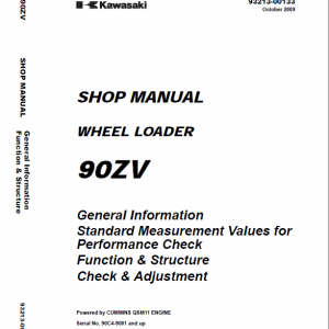 Kawasaki 90ZV Wheel Loader Repair Service Manual