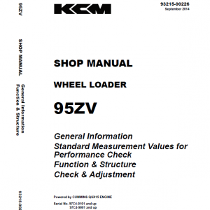 Kawasaki 95ZV Wheel Loader Repair Service Manual