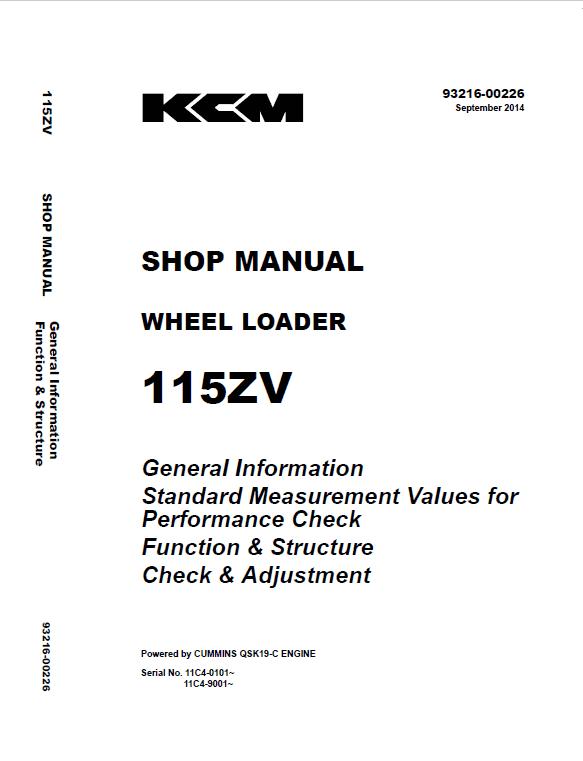 Kawasaki 115ZV Wheel Loader Repair Service Manual