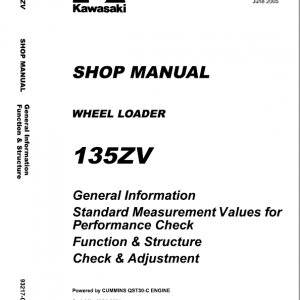 Kawasaki 135ZV Wheel Loader Repair Service Manual