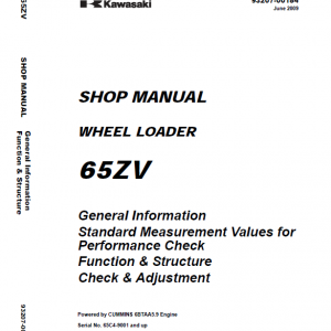 Kawasaki 65ZV, 65TMV Wheel Loader Repair Service Manual