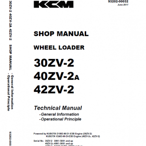 Kawasaki 30ZV-2, 40ZV2A, 42ZV-2 Wheel Loader Service Manual