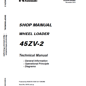 Kawasaki 45ZV-2 Wheel Loader Service Manual