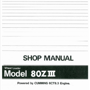 Kawasaki 80ZIII Wheel Loader Service Manual