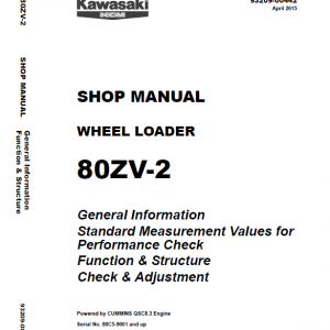 Kawasaki 80ZV-2 Wheel Loader Service Manual