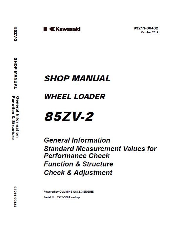 Kawasaki 85ZV-2 Wheel Loader Service Manual