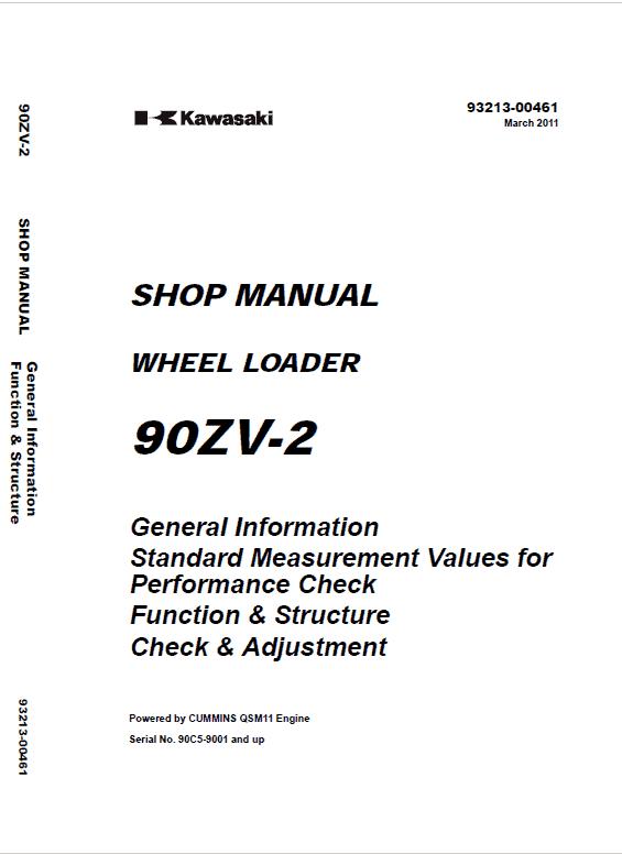 Kawasaki 90ZV-2 Wheel Loader Service Manual
