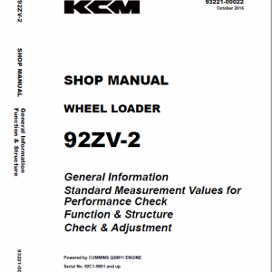 Kawasaki 92ZV-2 Wheel Loader Service Manual