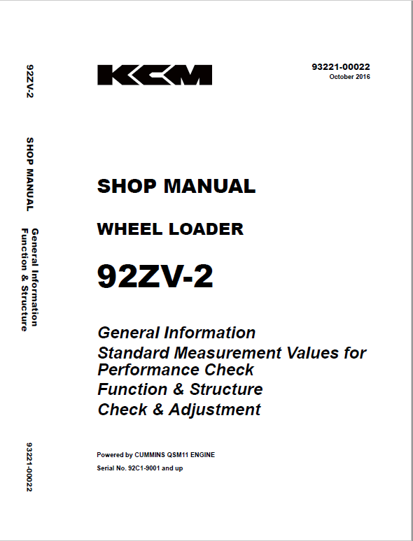 Kawasaki 92ZV-2 Wheel Loader Service Manual