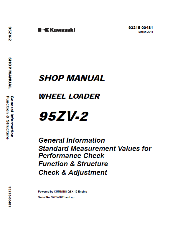Kawasaki 95ZV-2 Wheel Loader Service Manual