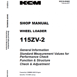 Kawasaki 115ZV-2 Wheel Loader Service Manual
