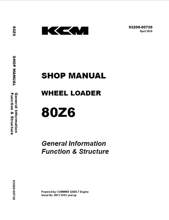 Kawasaki 80Z-6 Wheel Loader Service Manual