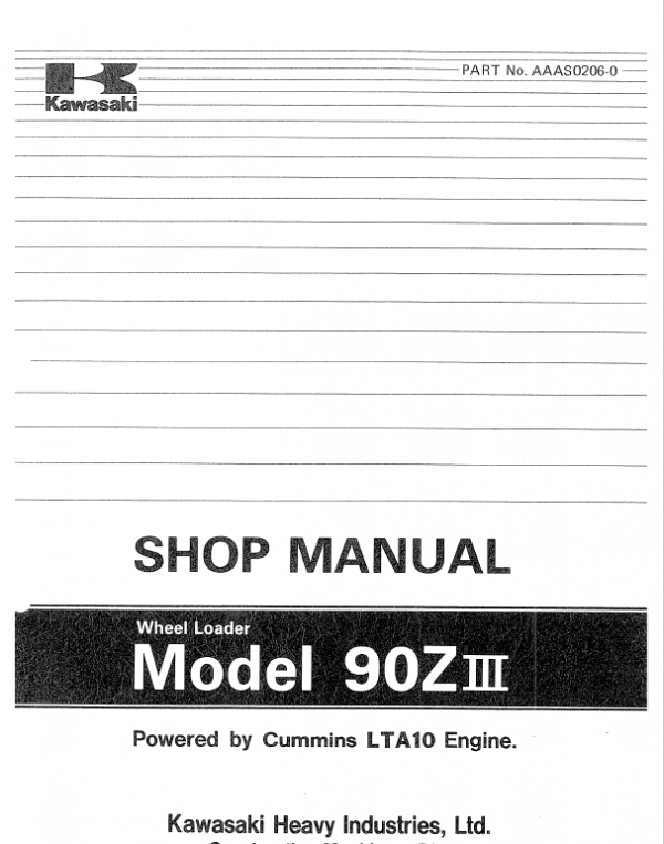 Kawasaki 90ZIII Wheel Loader Service Manual