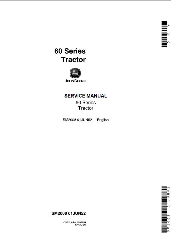 John Deere 60, 620, 630 (60 Series) Tractors Service Manual
