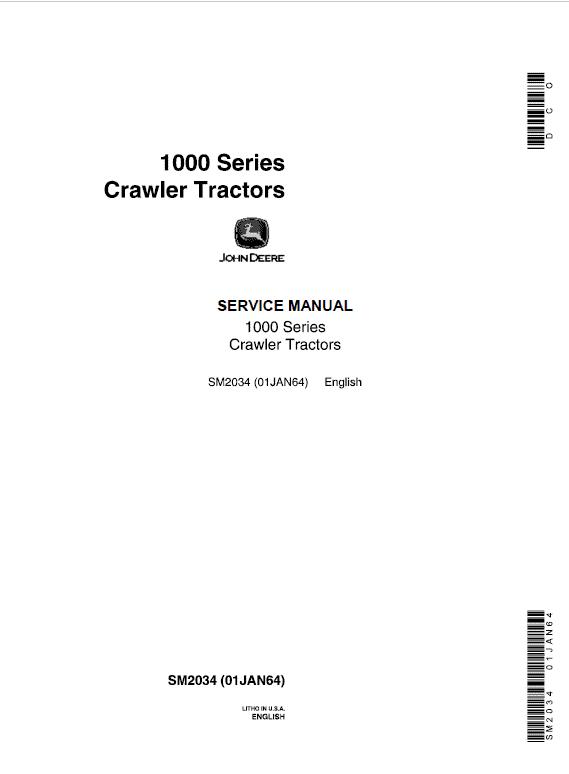 John Deere 1000 and 1010 Series Crawler Tractors Service Manual