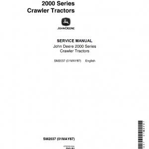 John Deere 2010 Crawler Tractor Service Manual