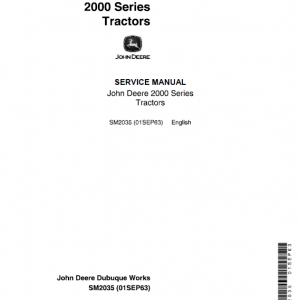 John Deere 2010 Row-Crop, RC Utility, Hi-Crop Service Manual