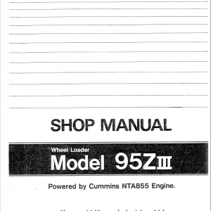 Kawasaki 95ZIIII Wheel Loader Service Manual