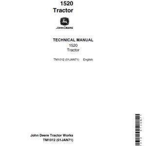 John Deere 1520 Utility Tractor Repair Service Manual